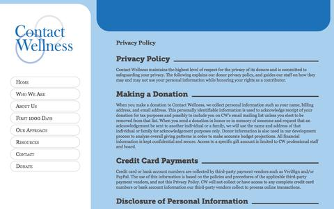 Screenshot of Privacy Page contactwellness.org - Contact Wellness     Privacy Policy - captured Oct. 2, 2014
