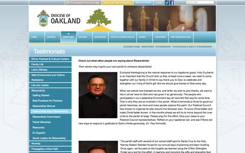 Screenshot of Testimonials Page oakdiocese.org - Testimonials — Oakland Diocese - captured Oct. 5, 2014