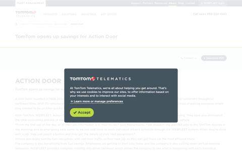 Screenshot of Case Studies Page tomtom.com - Action Door savings with TomTom WEBFLEET — TomTom Telematics US - captured Feb. 24, 2019