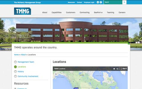 Screenshot of Locations Page tmmg.us.com - Locations - The McHenry Management Group - Systems engineering and logistics. - captured Oct. 9, 2014