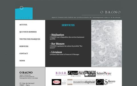 Screenshot of Services Page obagno.com - O BAGNO - Agence Commerciale dediée aux professionnels de l'amenagement intérior et du design - captured Sept. 30, 2014