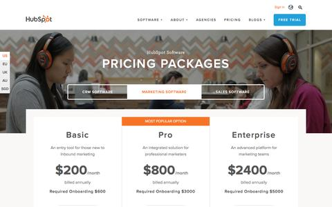 Screenshot of Pricing Page hubspot.com - HubSpot Marketing Pricing | HubSpot - captured April 7, 2016