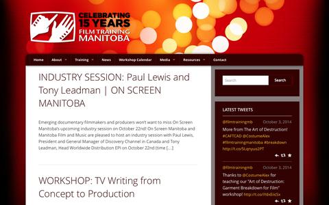 Screenshot of Press Page filmtraining.mb.ca - News - Film Training ManitobaFilm Training Manitoba - captured Oct. 5, 2014