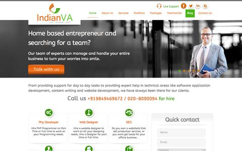 Screenshot of Home Page indianva.com - Hire a Virtual Assistant| Virtual Assistant Services| Indian Virtual Assistant Services - captured Sept. 30, 2014