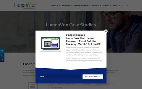 Screenshot of Case Studies Page lumenvox.com - Case Studies - LumenVox - captured March 8, 2019