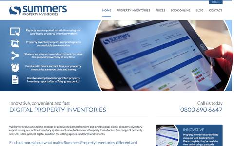 Screenshot of Home Page summersproperty.com - Summers Property Inventories - Digital Property Inventory Consultants - captured Oct. 6, 2014