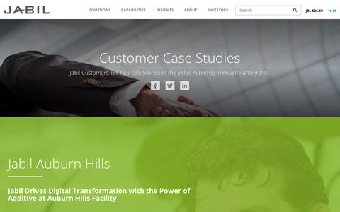 Screenshot of Case Studies Page jabil.com - Case Studies | Jabil - captured May 2, 2018