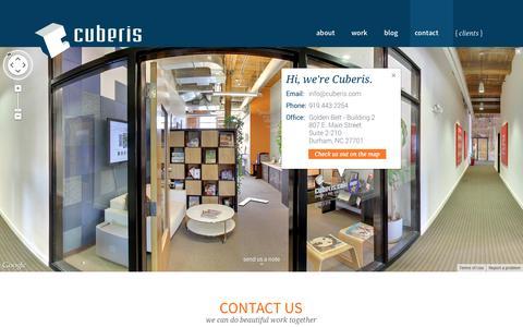 Screenshot of Contact Page cuberis.com - Contact us Cuberis Web Design + Graphic Design - captured Sept. 23, 2014