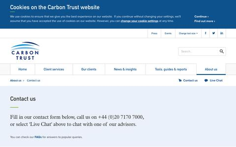 Screenshot of Contact Page carbontrust.com - Contact us - captured July 17, 2016