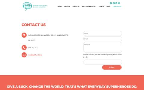 Screenshot of Contact Page g1veabuckfund.org - Contact Us - The G1VE a Buck Fund - captured May 11, 2017