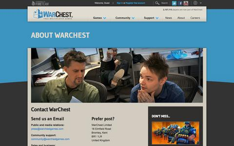 Screenshot of Contact Page warchest.com - Contact WarChest | WarChest - captured Sept. 23, 2014