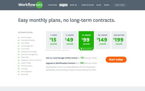 Screenshot of Pricing Page workflowmax.com - Pricing and Sign Up - WorkflowMax Job Management - captured Oct. 26, 2014