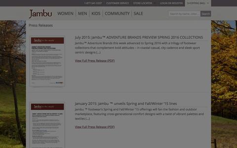 Screenshot of Press Page jambu.com - Jambu Adventure Designs | Press Releases | Jambu.com - captured Oct. 22, 2015
