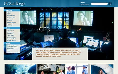 Screenshot of Jobs Page ucsd.edu - Jobs, Careers and Employment | UC San Diego - captured Sept. 18, 2014