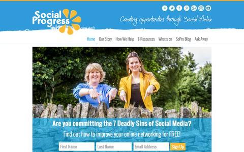 Screenshot of Home Page socialprogress.co.uk - Social Media Speaking l Training l TwitterWalls l Account Management Huddersfield - captured Oct. 21, 2016