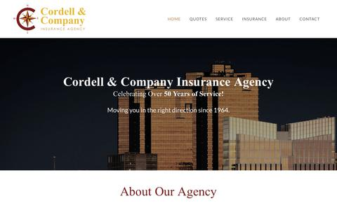 Screenshot of Home Page cordellinsurance.com - Cordell & Company Insurance Agency - Independent Insurance Agency - captured Sept. 29, 2018