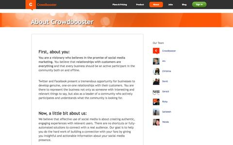Screenshot of About Page crowdbooster.com - Crowdbooster - About Us - captured Sept. 13, 2014