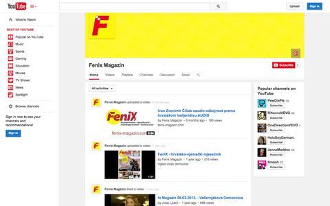 Screenshot of YouTube Page youtube.com - Fenix Magazin  - YouTube - captured Oct. 30, 2014