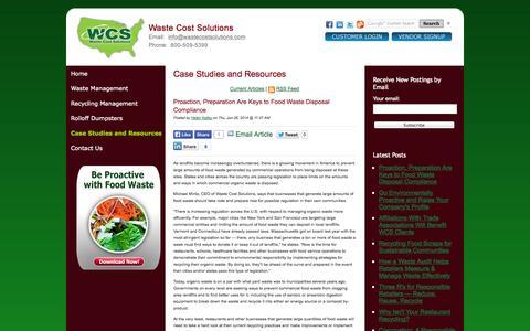 Screenshot of Blog wastecostsolutions.com - Waste Management Case Studies and Resources - captured Sept. 30, 2014