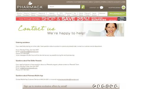 Screenshot of Support Page pharmaca.com - Customer Service I Contact us - captured July 19, 2014