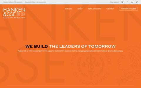 Screenshot of Home Page hankensse.fi - Hanken & SSE Executive Education - captured Nov. 10, 2018