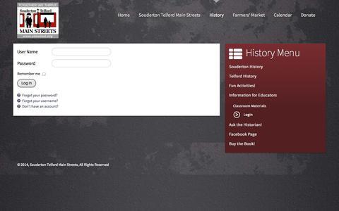 Screenshot of Login Page stmainst.org - Login - Souderton Telford Main Streets - captured Oct. 6, 2014