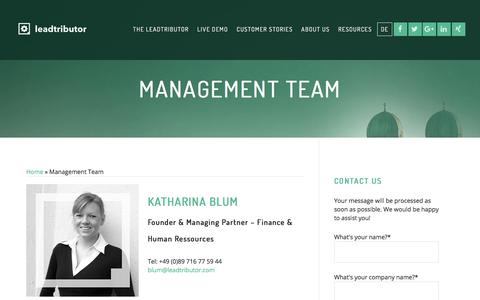 Screenshot of About Page leadtributor.com - Management Team - leadtributor - captured Feb. 3, 2018