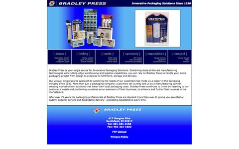 Screenshot of Home Page bradleypressusa.com - Packaging Solutions -Bradley Press - captured Oct. 5, 2014