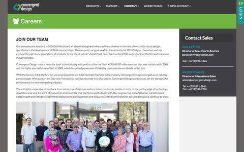 Screenshot of Jobs Page convergent-design.com - Careers - Convergent Design - captured Dec. 12, 2015