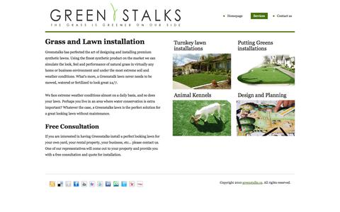 Screenshot of Services Page greenstalks.ca - Artificial Lawn - Synthetic Grass - Artificial Grass - Synthetic Lawn Calgary Alberta - captured Oct. 3, 2014