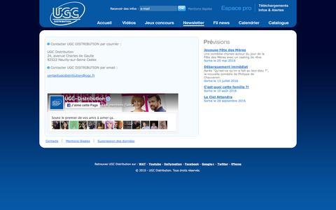 Screenshot of Contact Page ugcdistribution.fr - Contact - UGC Distribution - captured May 21, 2016
