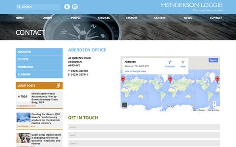 Screenshot of Contact Page hlca.co.uk - Aberdeen Office   Henderson Loggie - captured Nov. 2, 2014