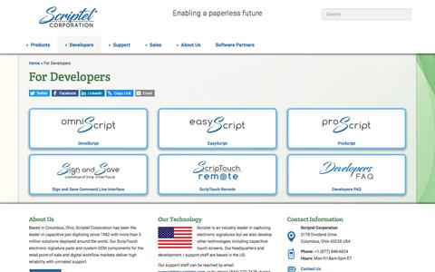 Screenshot of Developers Page scriptel.com - Developer Integration & Support for ScripTouch Products - Scriptel.com - captured Sept. 21, 2018