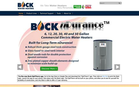 Screenshot of Home Page bockwaterheaters.com - Oil-Fired, Gas, and Indirect Water Heaters   Bock Water Heaters - captured Oct. 6, 2018