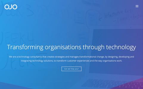 Screenshot of Home Page ojosolutions.com - Home - ojo solutions - captured July 15, 2018