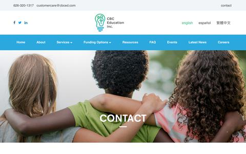 Screenshot of Contact Page cbceducation.net - Contact - CBC Education - captured July 7, 2017