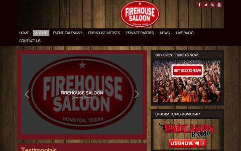 Screenshot of Testimonials Page firehousesaloon.com - Testimonials | Live Entertainment & Music Venue in Houston, TX - captured Oct. 6, 2014