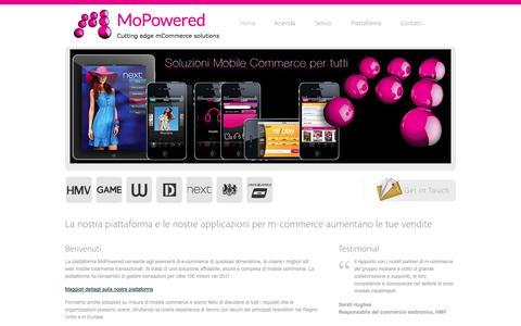 Screenshot of Home Page mopowered.it - Piattaforma e applicazioni m-commerce | aumenta le tue vendite | MoPowered - captured Oct. 7, 2014