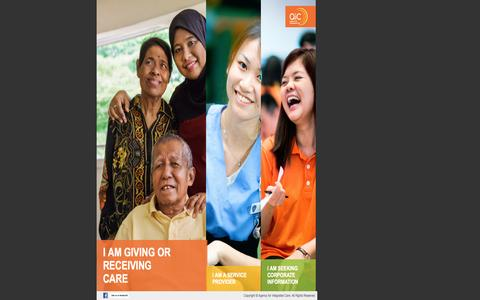 Screenshot of Home Page aic.sg - Agency for Integrated Care - Achieving the best care outcomes for our clients - captured Sept. 19, 2014