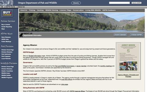 Screenshot of About Page state.or.us - About the Oregon Department of Fish and Wildlife - captured Oct. 8, 2014