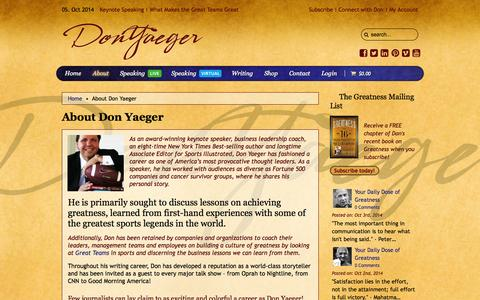 Screenshot of About Page donyaeger.com - About Don Yaeger - captured Oct. 5, 2014