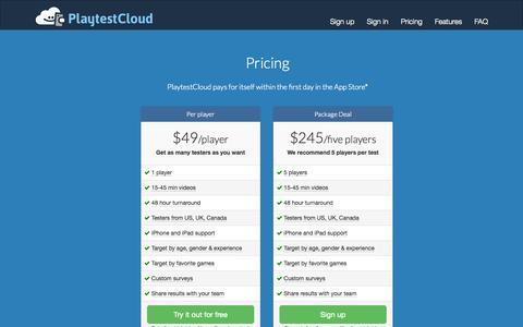 Screenshot of Pricing Page playtestcloud.com - Pricing - PlaytestCloud - captured Sept. 13, 2014