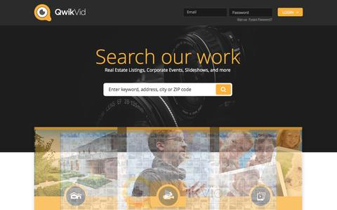 Screenshot of Home Page qwikvid.com - Video & Photography for Real Estate, Corporate Events, and more. Try our Free Slideshow maker. - captured July 19, 2016