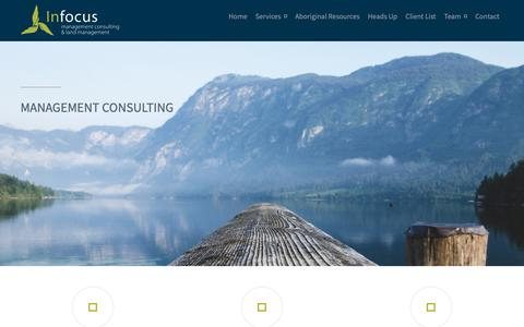 Screenshot of Home Page infocusconsulting.ca - Infocus Management Consulting // full service project management / management consulting / project management - captured Oct. 11, 2018