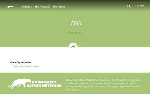 Screenshot of Jobs Page ran.org - Jobs - Rainforest Action Network - captured Dec. 10, 2015