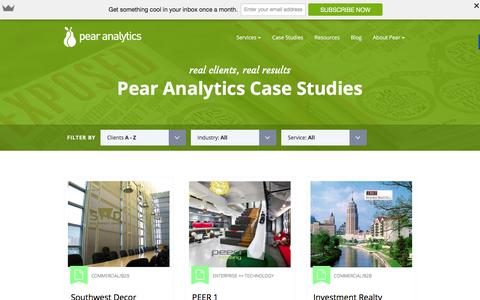 Screenshot of Case Studies Page pearanalytics.com - Case Studies � - captured Jan. 8, 2016