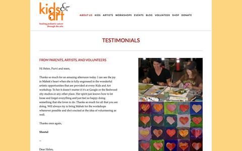 Screenshot of Testimonials Page kidsandart.org - Testimonials — Kids and Art Foundation - captured Nov. 27, 2016