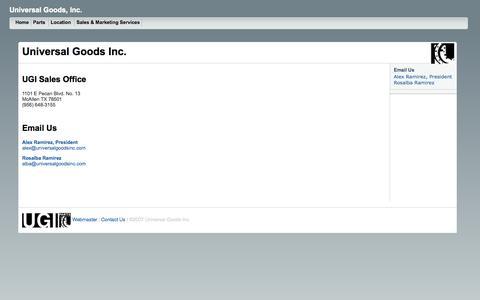 Screenshot of Contact Page Locations Page universalgoodsinc.com - Universal Goods, Inc. - captured Oct. 26, 2014