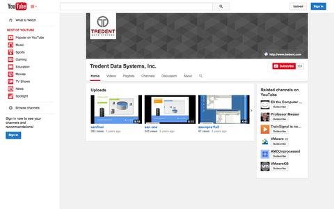 Screenshot of YouTube Page youtube.com - Tredent Data Systems, Inc.  - YouTube - captured Oct. 25, 2014