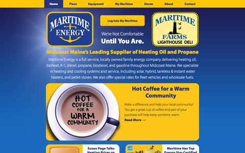 Screenshot of Home Page maritimeenergy.com - Maritime Energy | Midcoast Maine Heating Fuel Delivery, Service, Sales - captured Jan. 9, 2016